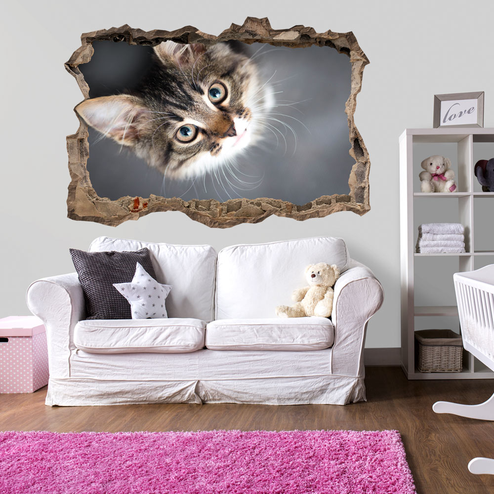 3d illusion d 39 optique trou dans le mur mural papiers. Black Bedroom Furniture Sets. Home Design Ideas