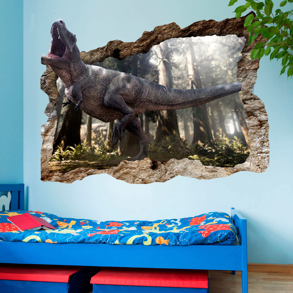 3d wandillusion wandbild fototapete poster xl dinosaurier loch wand g c 0038 t a ebay. Black Bedroom Furniture Sets. Home Design Ideas