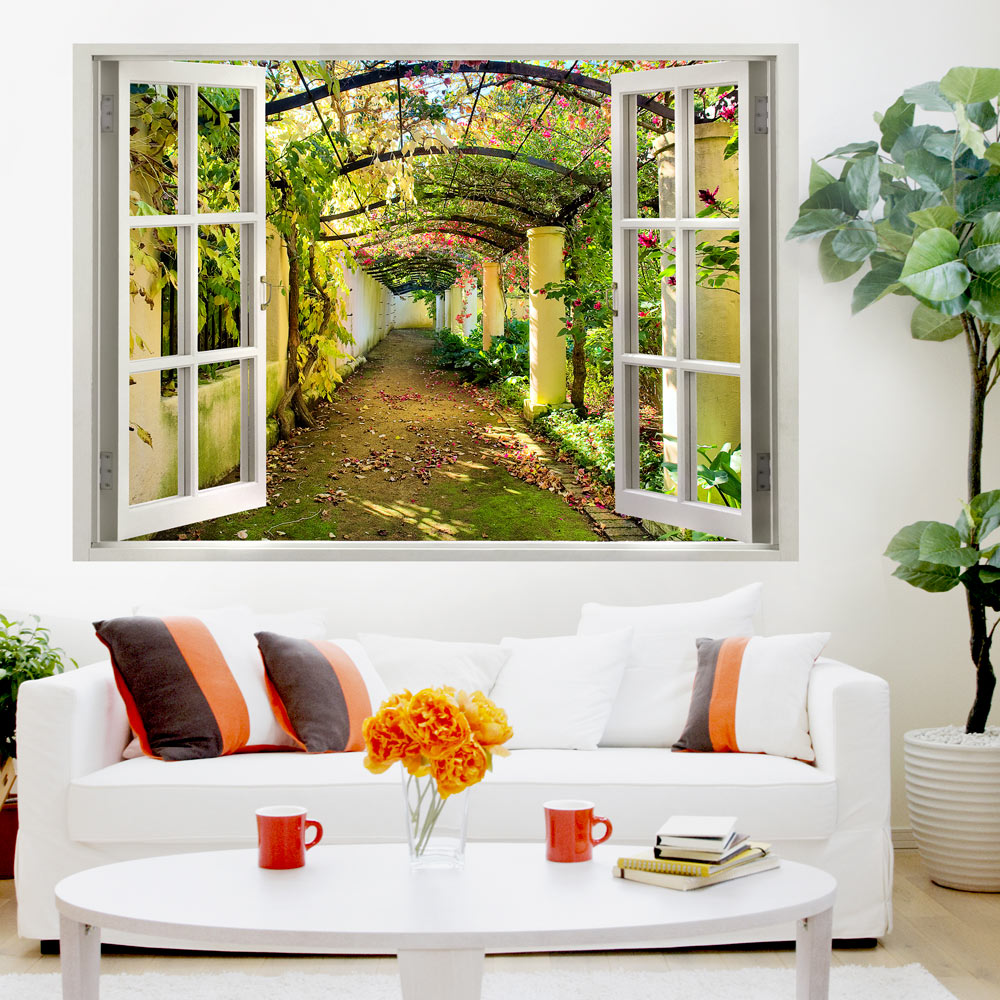 3d Wall Murals : D wall illusion wallpaper mural photo print a hole in the