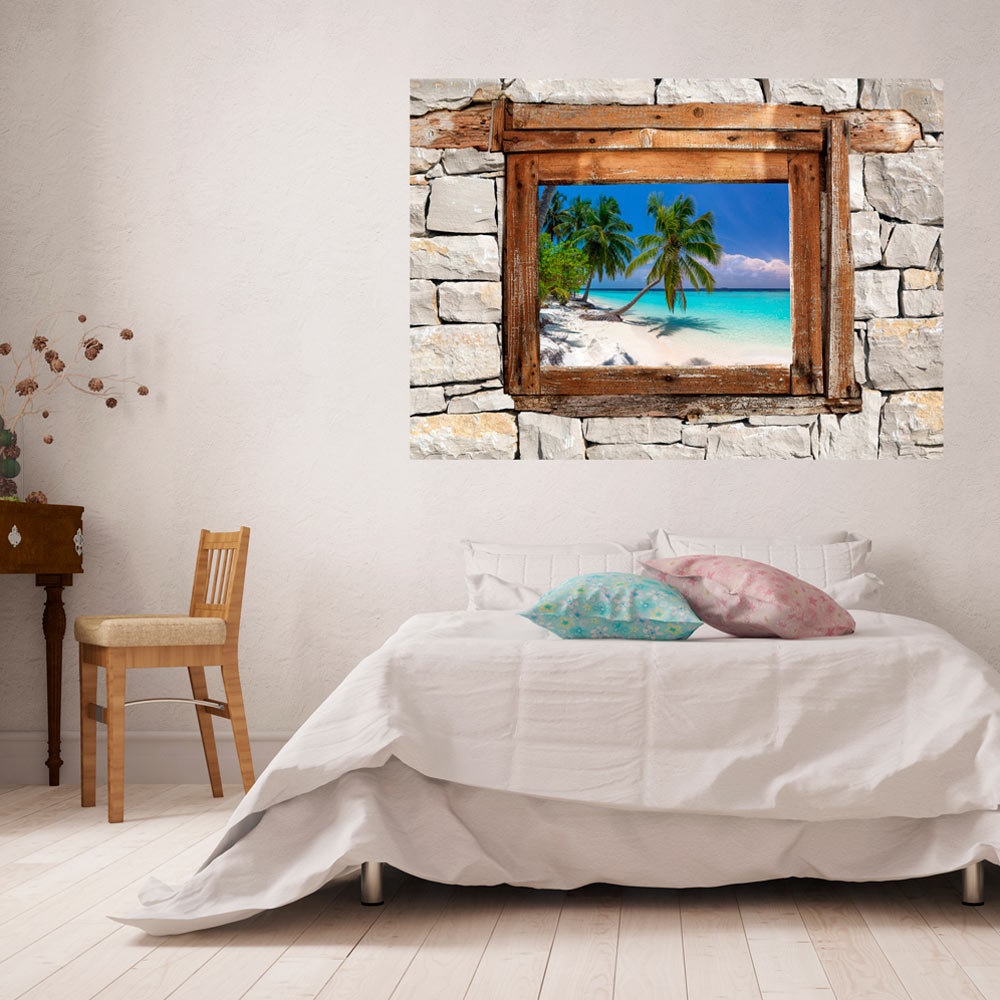 3d Wall Illusion Wallpaper Mural Photo Print A Window View