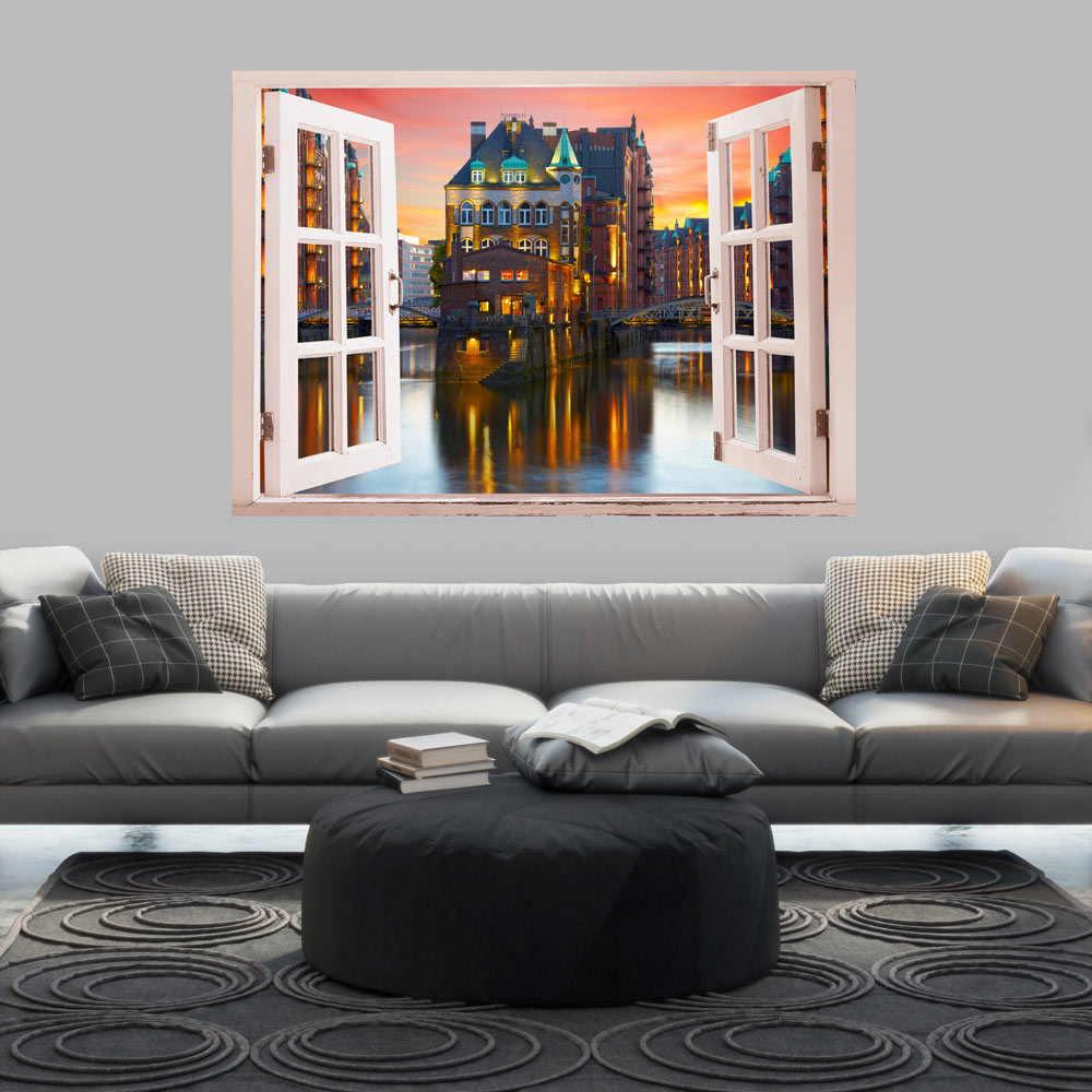 3d wall illusion wallpaper mural photo print a hole in the for Wallpaper home hardware