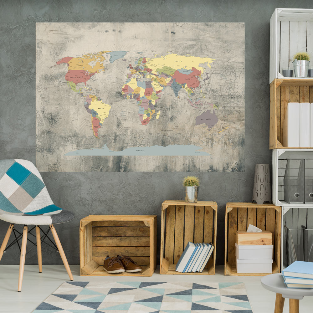 papier peint tableau carte du monde mappemonde voyage ebay. Black Bedroom Furniture Sets. Home Design Ideas