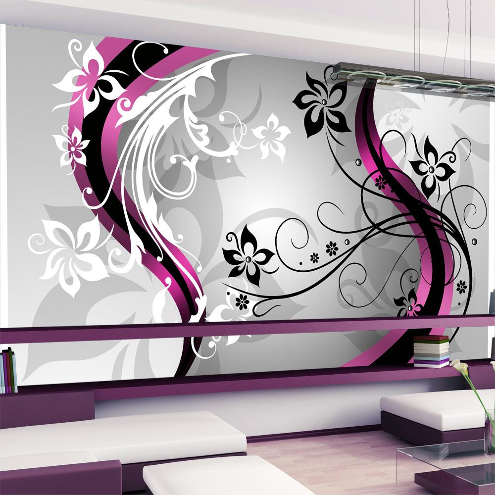 Fotomurale XXL - Zig zag floreali (rosa) 500X280 cm