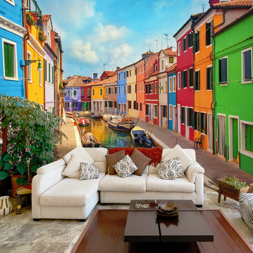 Fotomurale -  Colorful Canal in Burano 200X140 cm