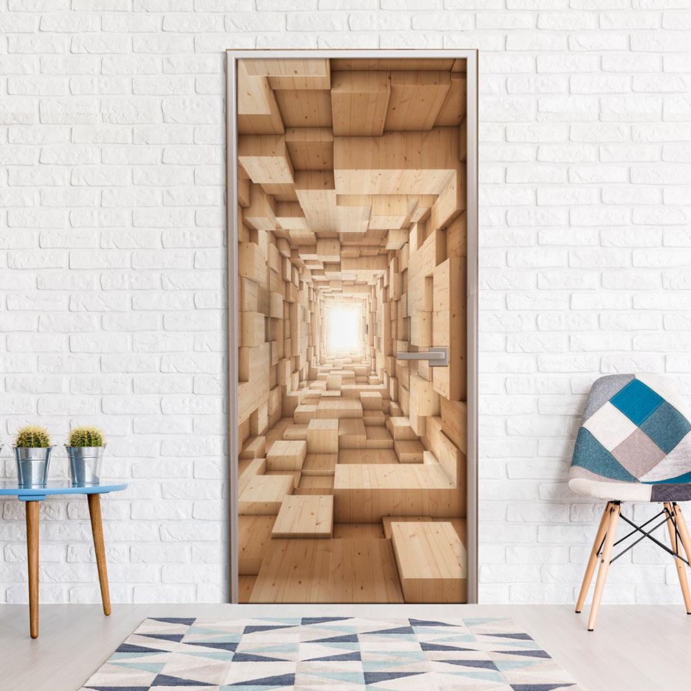 Fotomurale per porta - Wooden Tunnel 100X210 cm