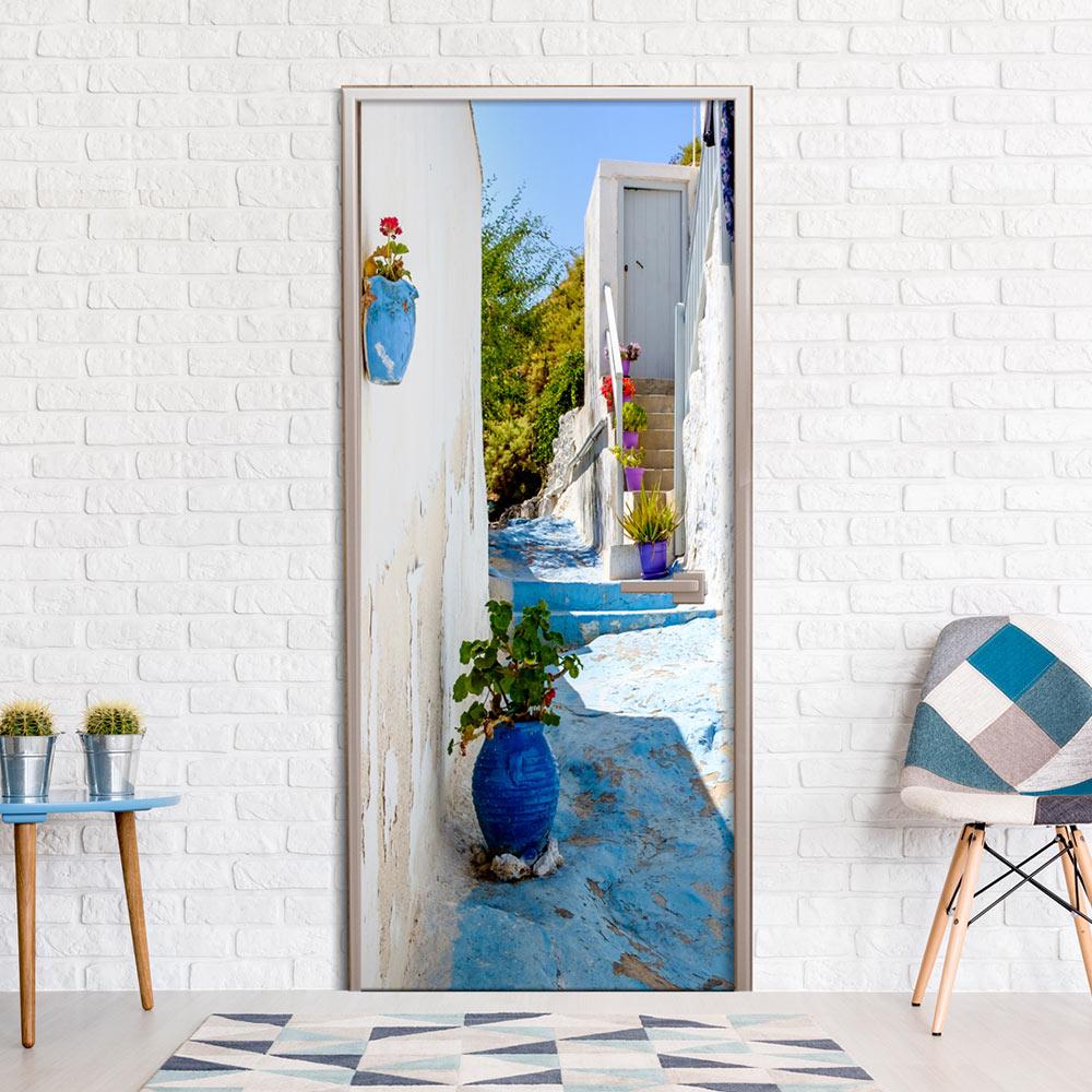 Fotomurale per porta - Blue Alley 90X210 cm