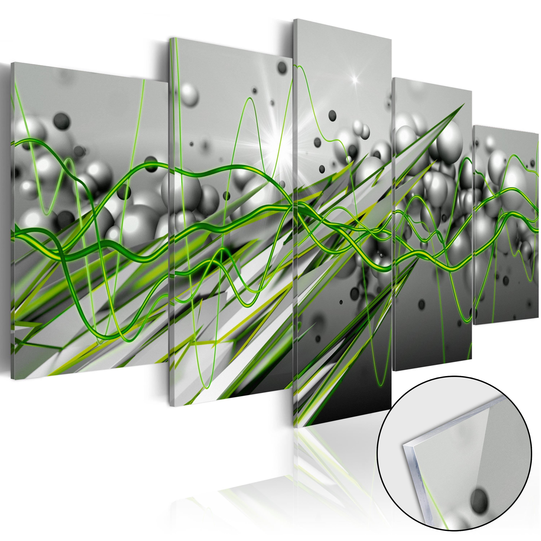 Quadri su vetro acrilico - Green Rhythm [Glass] 100X50 cm
