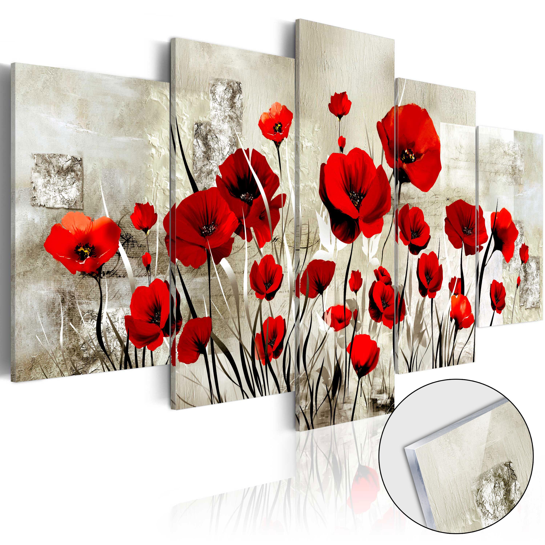 Quadri su vetro acrilico - Campo di scarlatto [Glass] 100X50 cm