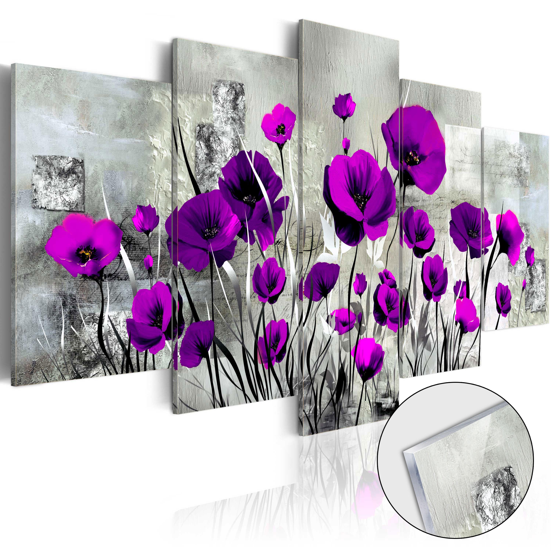Quadri su vetro acrilico - Meadow: Purple Poppies [Glass] 100X50 cm