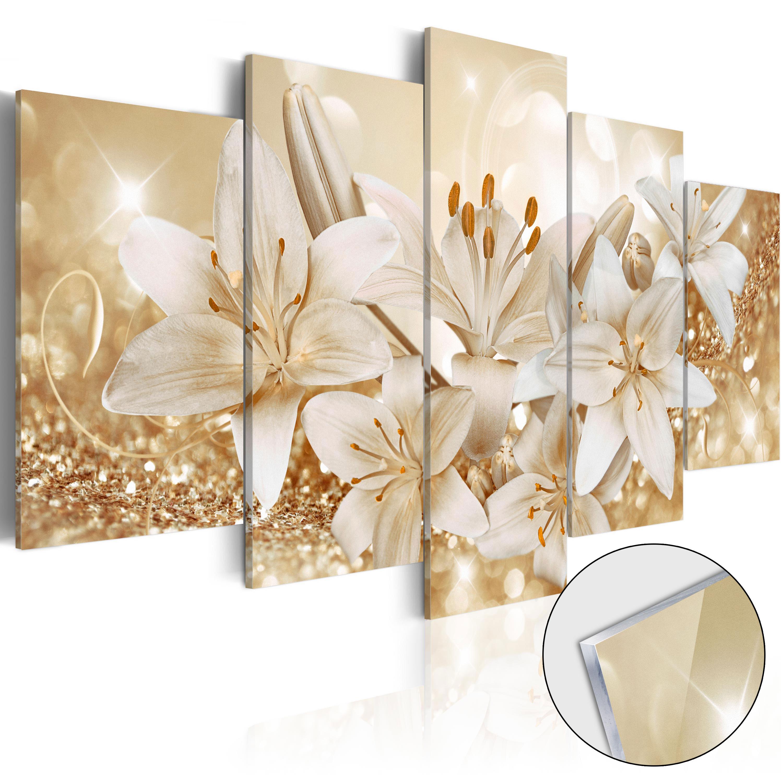 Quadri su vetro acrilico - Golden Bouquet [Glass] 100X50 cm