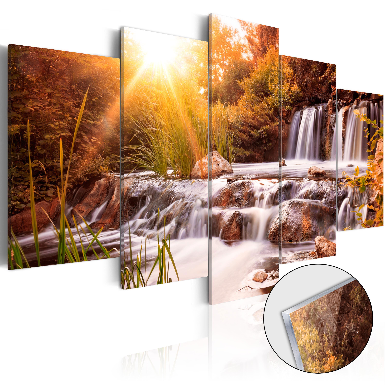 Quadri su vetro acrilico - Autumn's Valley [Glass] 100X50 cm