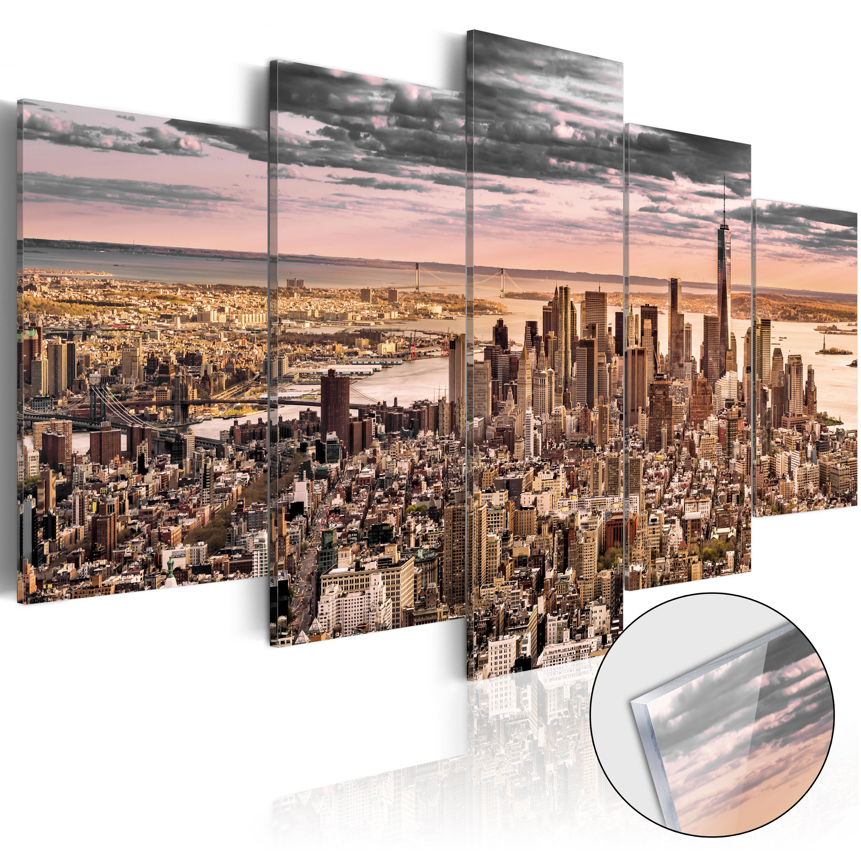 Quadri su vetro acrilico - New York City: Morning Sky [Glass] 100X50 cm