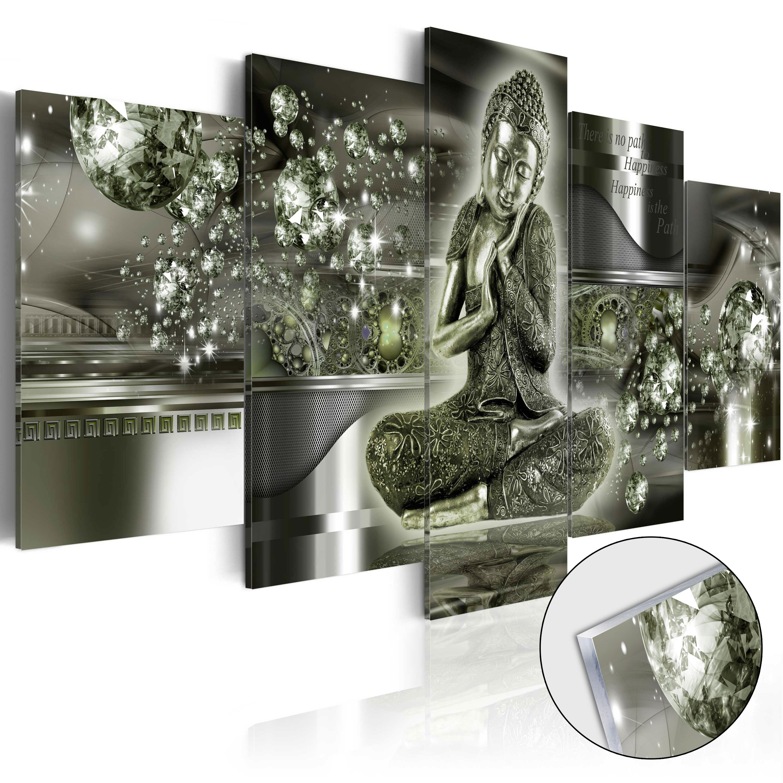 Quadri su vetro acrilico - Emerald Buddha [Glass] 100X50 cm