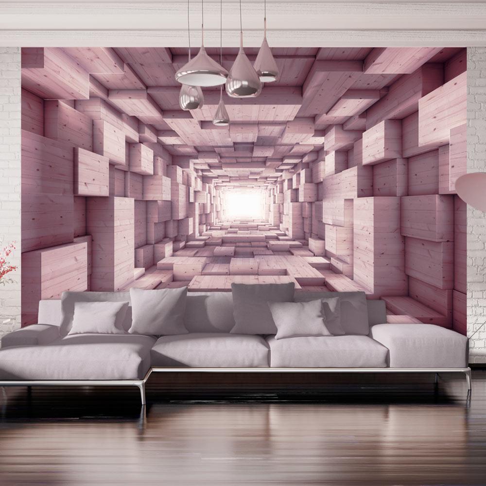 vlies fototapete 3d optik perspektive tunnel holz optik tapete xxl a a 0125 a b ebay. Black Bedroom Furniture Sets. Home Design Ideas