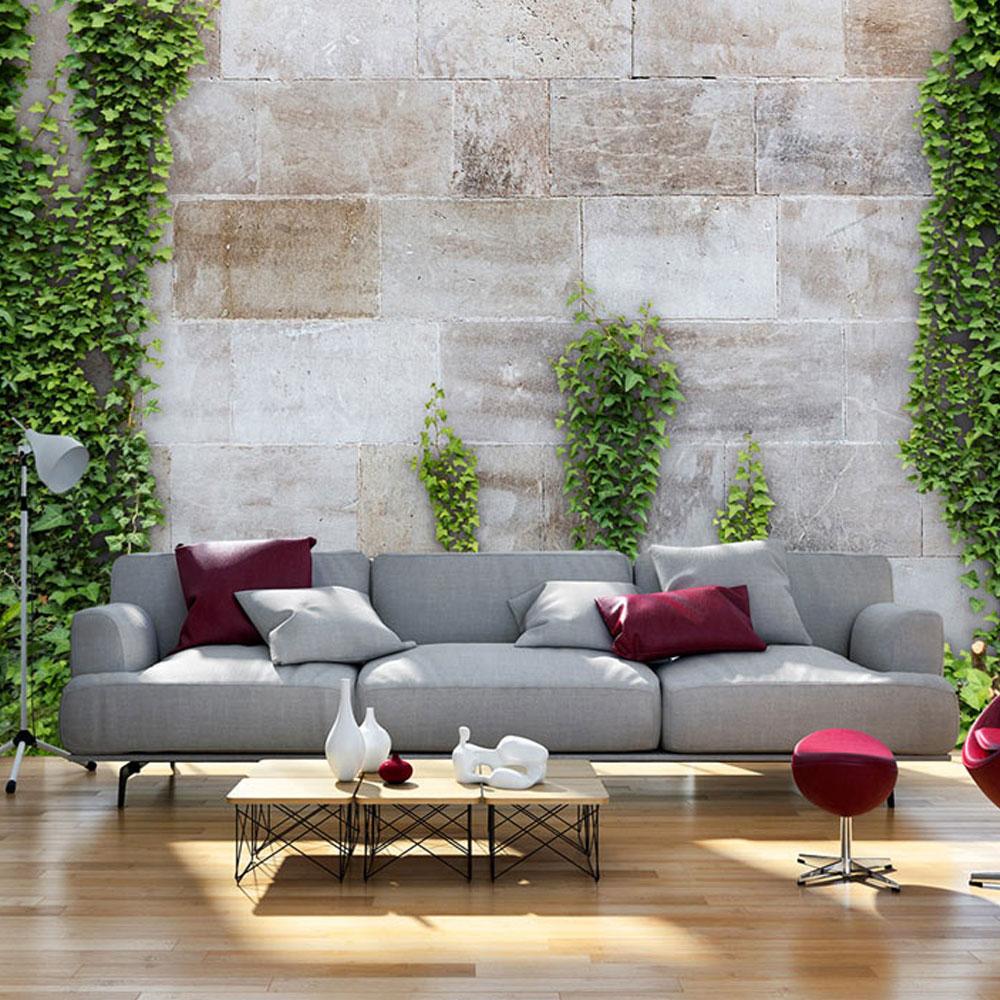 vlies fototapete 3 farben zur auswahl tapeten steine efeu mauer b a 0167 a b ebay. Black Bedroom Furniture Sets. Home Design Ideas