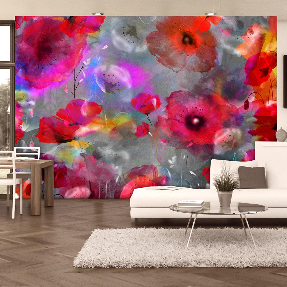 Fotomurale - Papaveri dipinti 300X210 cm