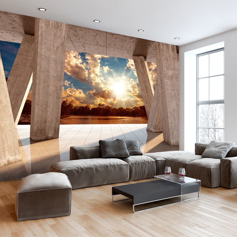 vlies fototapete 3d effekt himmel ausblick 3 farben. Black Bedroom Furniture Sets. Home Design Ideas