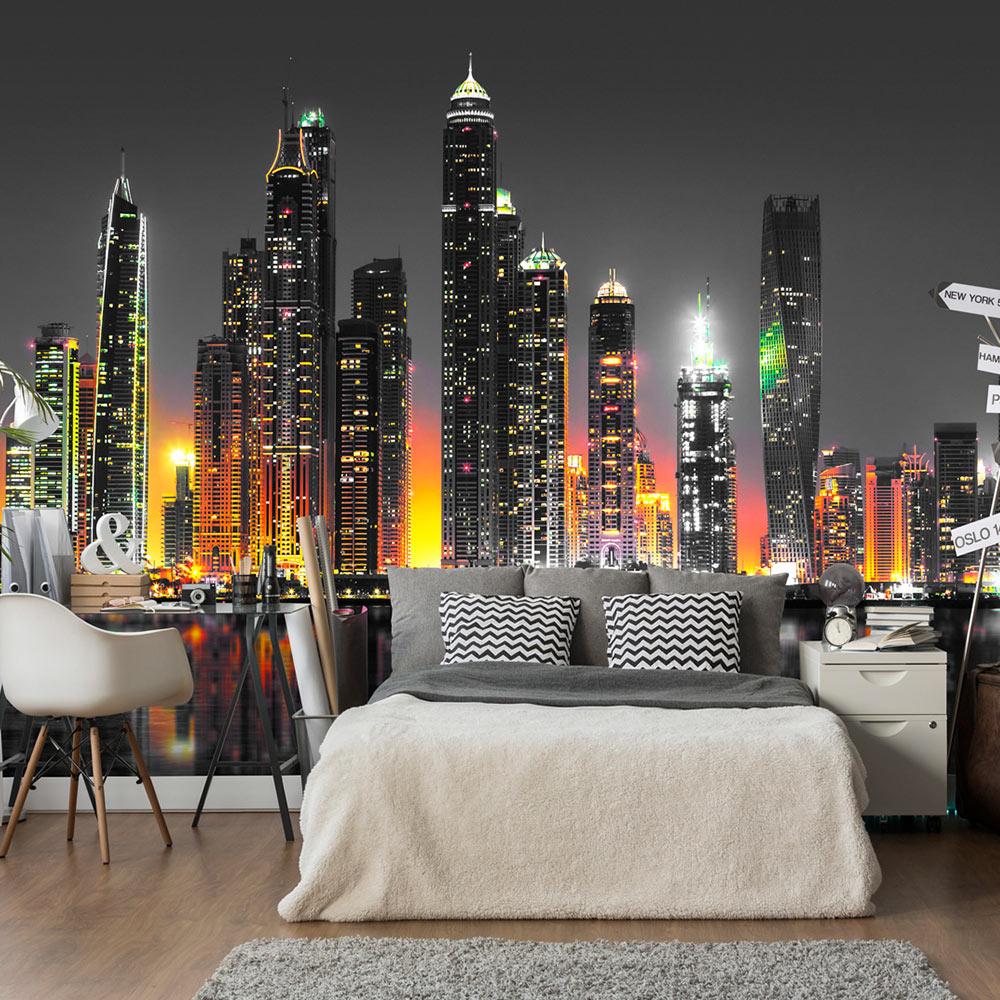 vlies fototapete 3 farben zur auswahl tapete stadt panorama nacht d c 0023 a b ebay. Black Bedroom Furniture Sets. Home Design Ideas