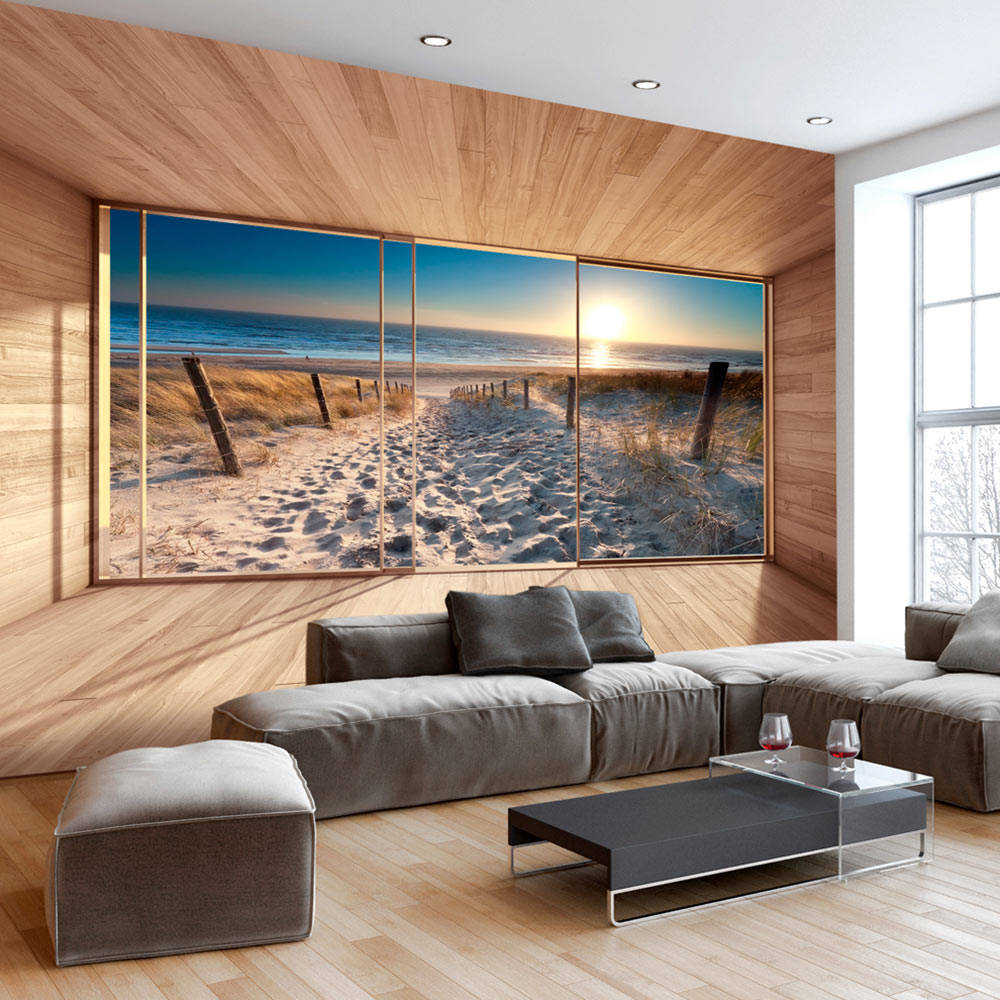 vlies fototapete 3 farben zur auswahl tapeten strand meer fenster c c 0067 a b ebay. Black Bedroom Furniture Sets. Home Design Ideas