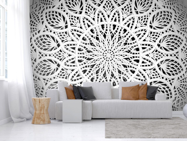 Photo Wallpaper Non-woven fleece //Self-adhesive Mandala White f-A-0581-a-b