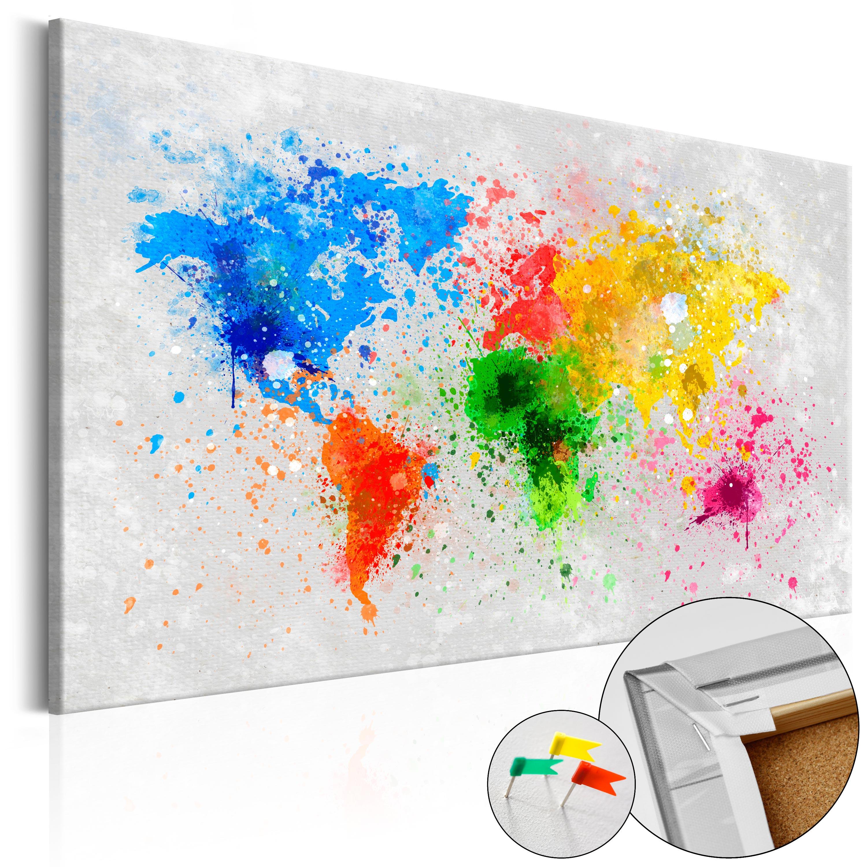 Quadri di sughero - Mappa in sughero: espressionismo mondiale 90X60 cm