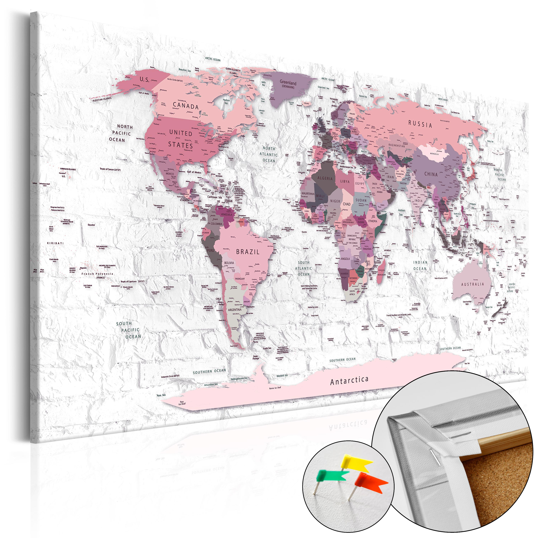 Quadri di sughero - Pink Frontiers [Cork Map] 60X40 cm