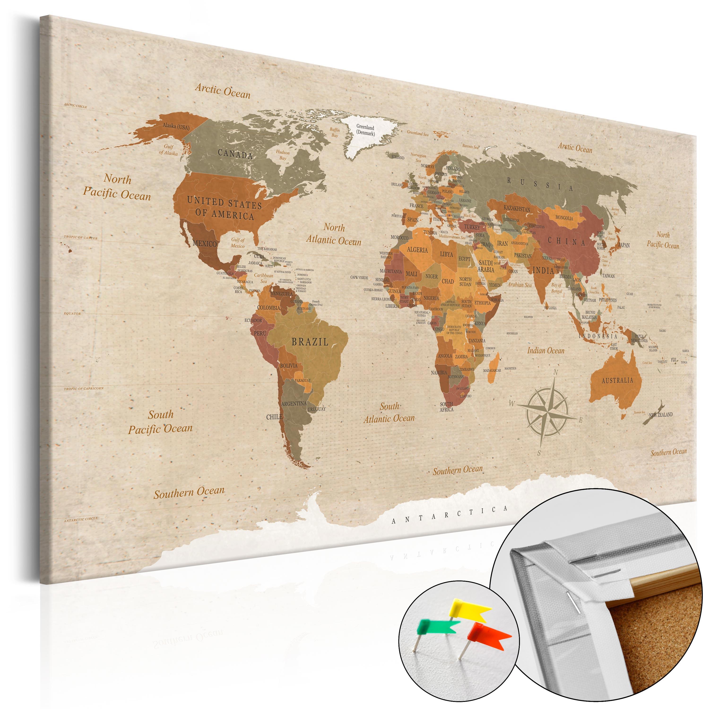 weltkarte leinwand kork Kork Pinnwand Weltkarte Wandbilder Landkarte Leinwand Bilder xxl  weltkarte leinwand kork
