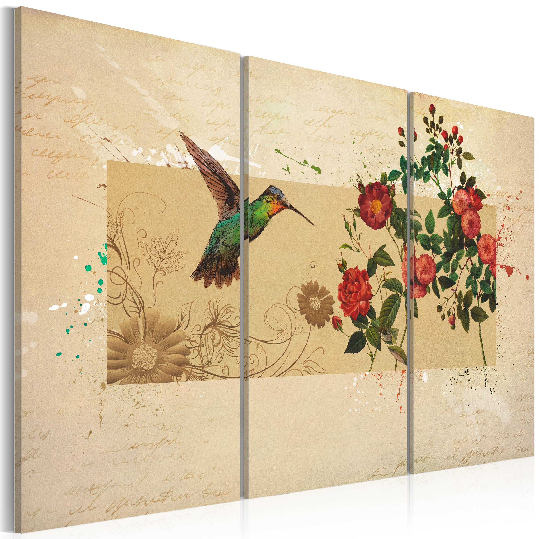 Tableau - Oiseau-mouche et roses