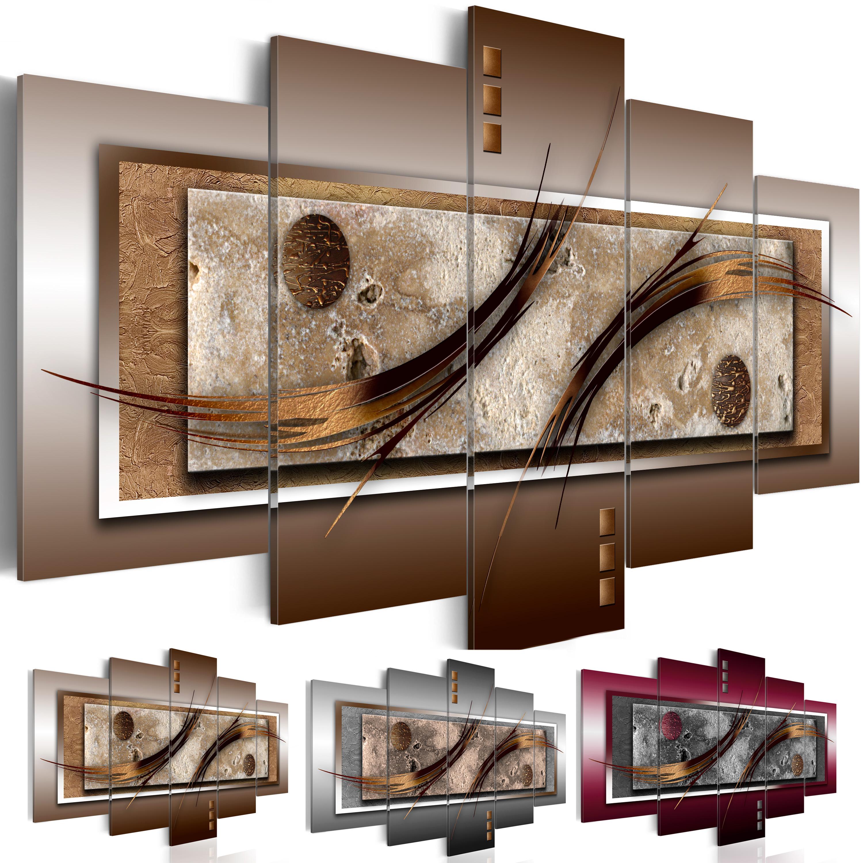 Wandbilder xxl Abstrakt Leinwand Bilder braun grau Wohnzimmer bordo 020101-22