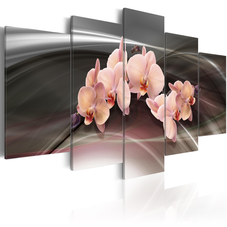 Tableau - Orchidée sur le fond gris foncé