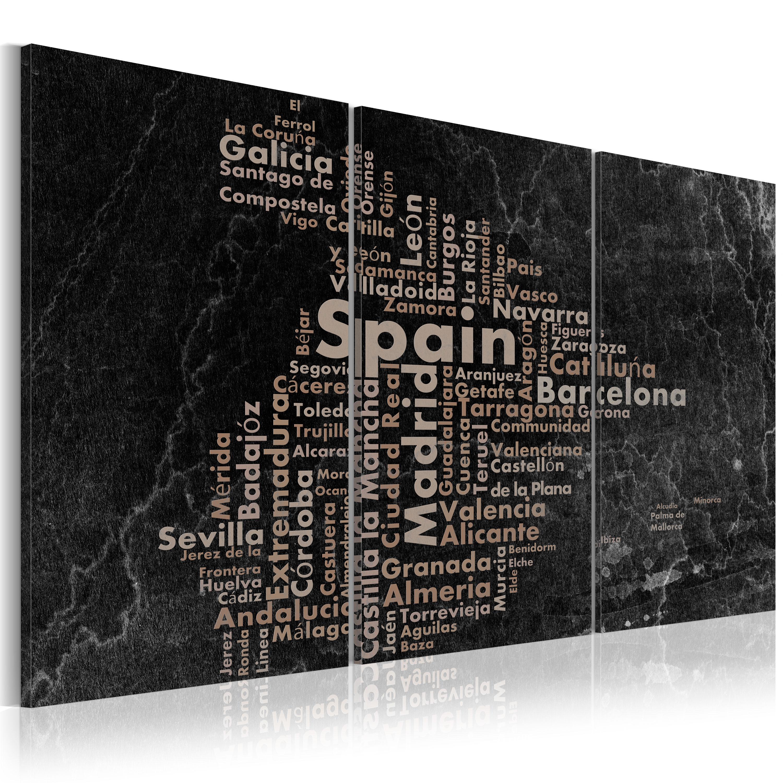 Tableau - Map of Spain on the blackboard - triptich