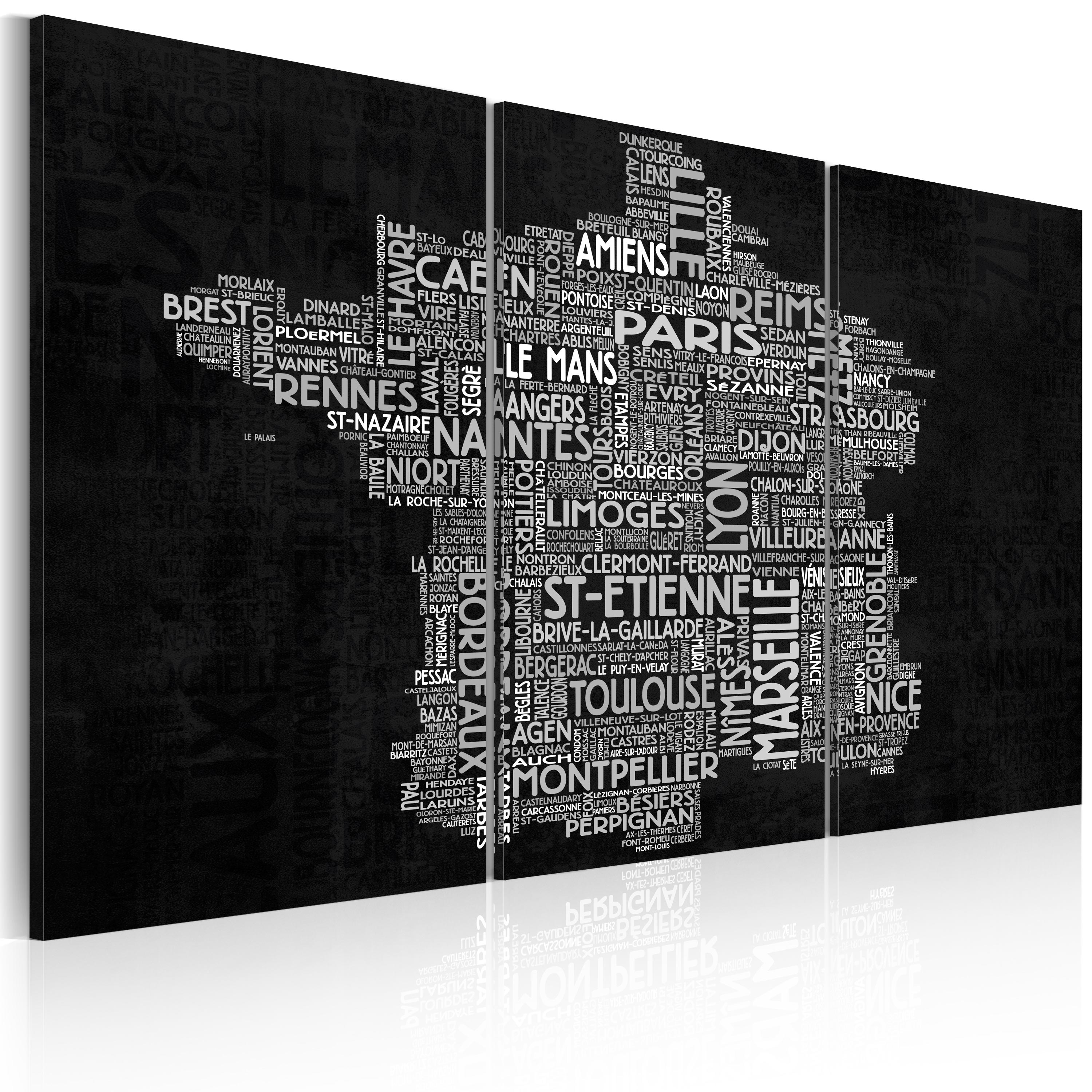 Quadro - Text map of France on the black background - triptych 60X40 cm