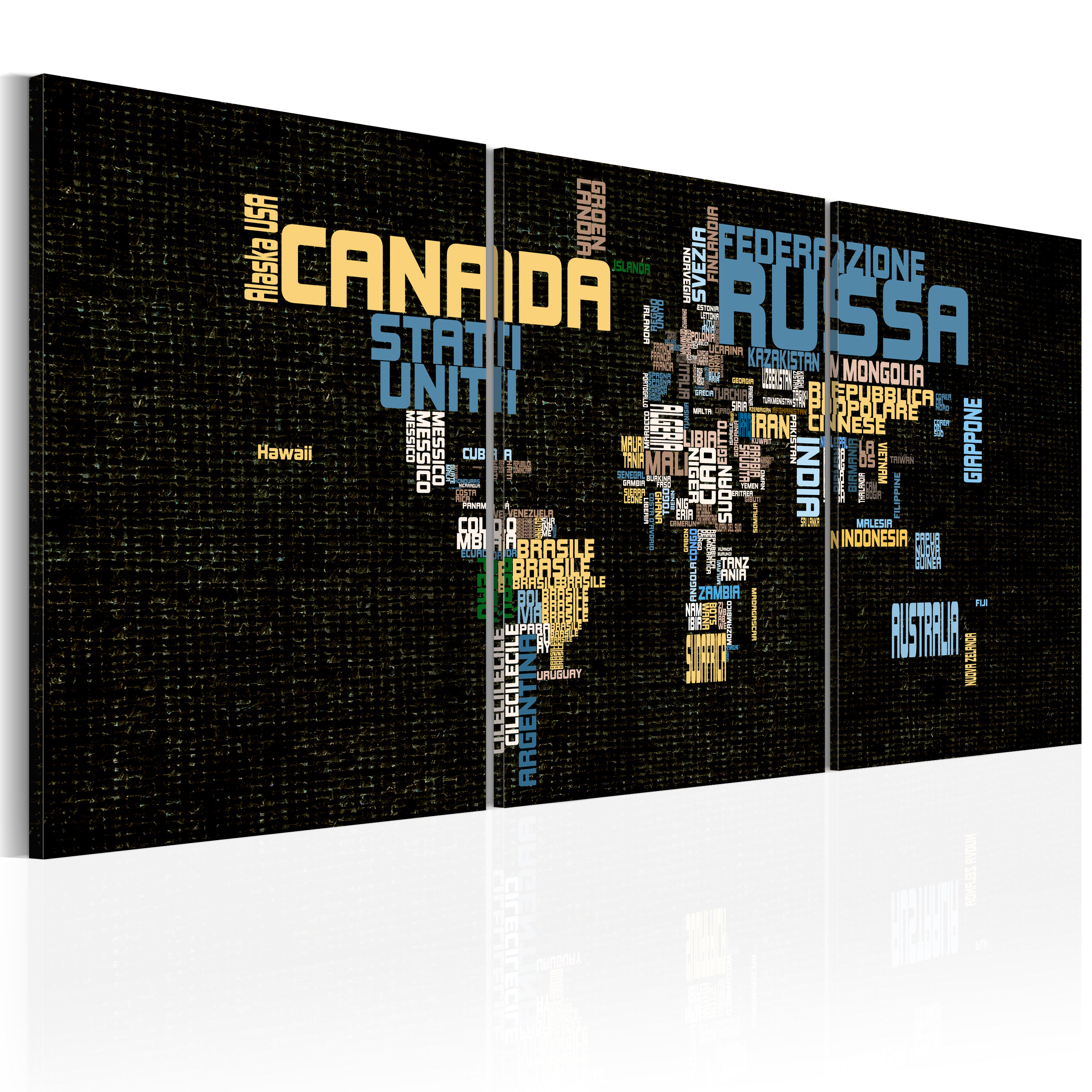 Tableau - Italian map of the World on texture background