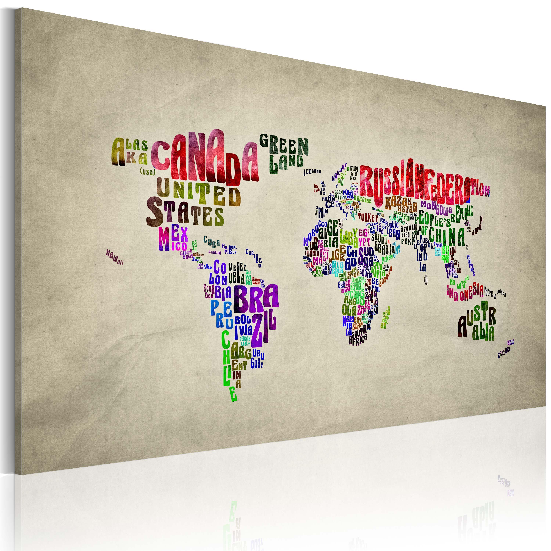 Tableau - Carte du monde en anglais