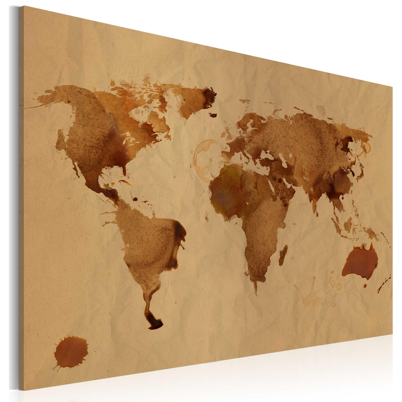 Tableau - Le monde peint avec du café