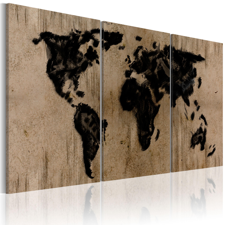 Tableau - Carte du monde en encre