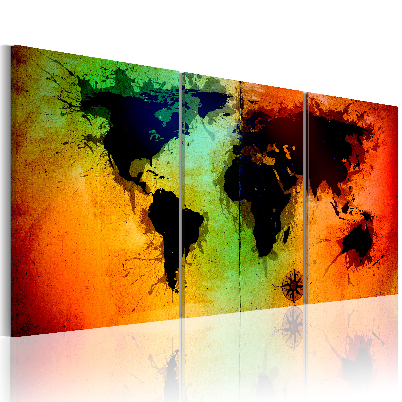 Tableau - Carte du monde - océans colorés