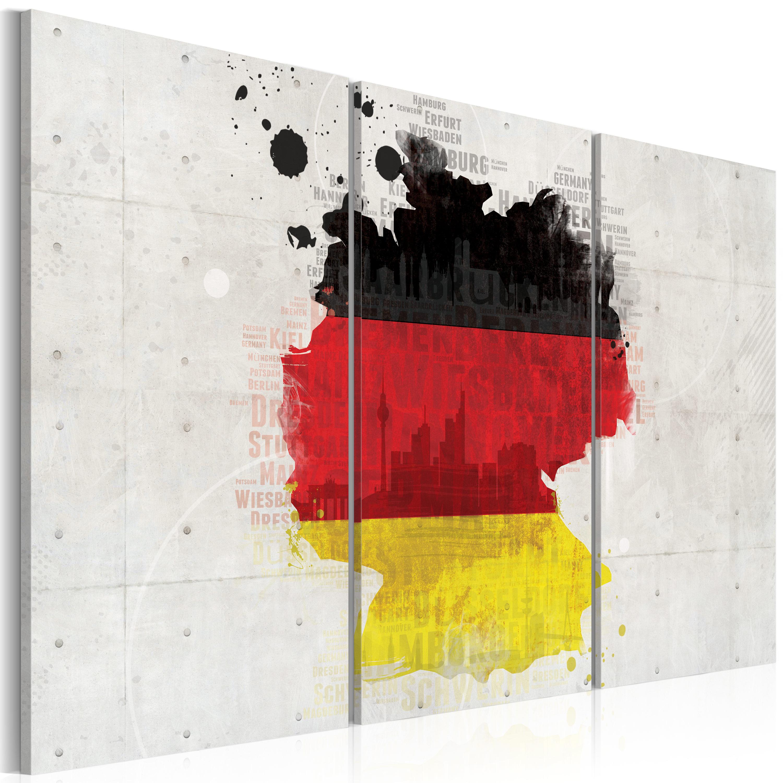 Tableau - Carte de l'Allemagne - triptyque
