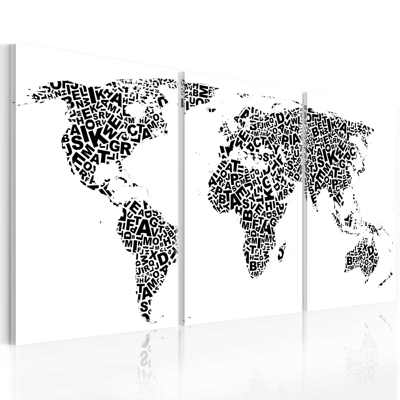 Tableau - Lettres et continents