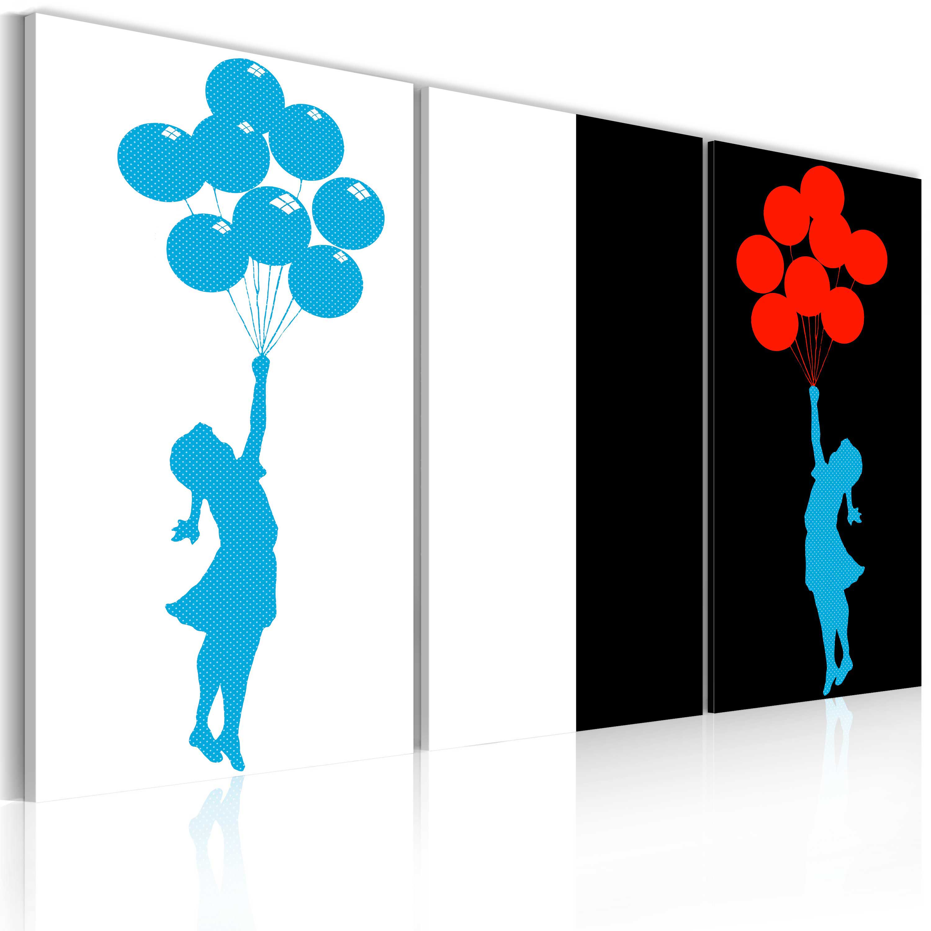 Tableau - Floating balloon girl - triptych