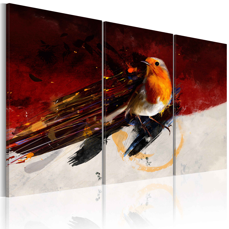 Quadro - Uccellino su sfondo biancorosso 60X40 cm