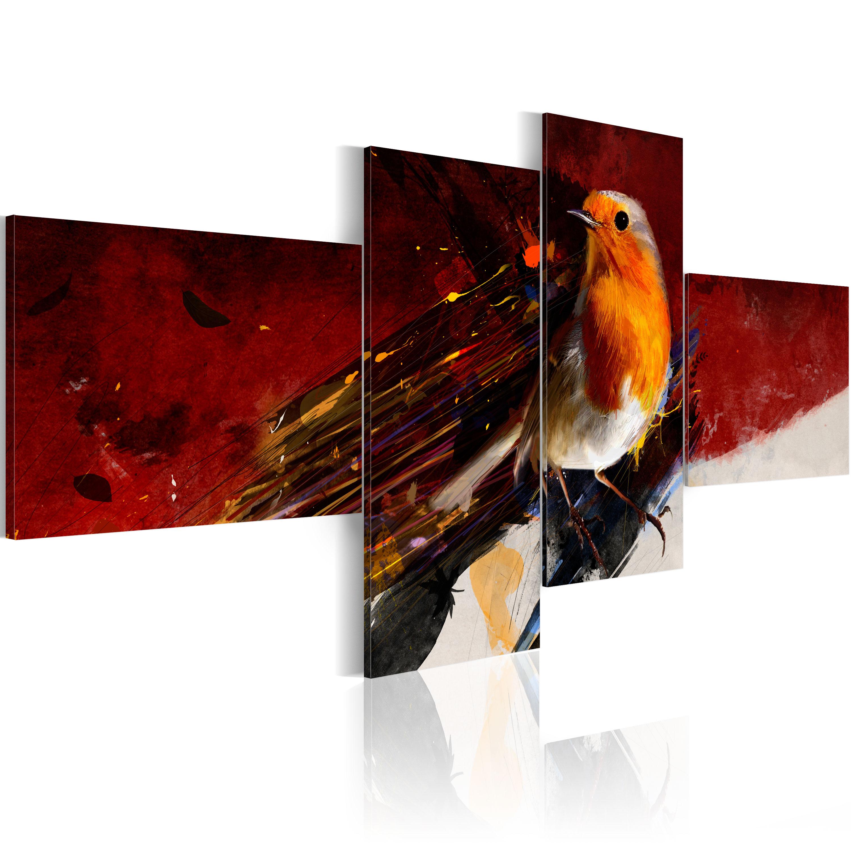 Quadro - Uccellino in quattro parti 100X45 cm
