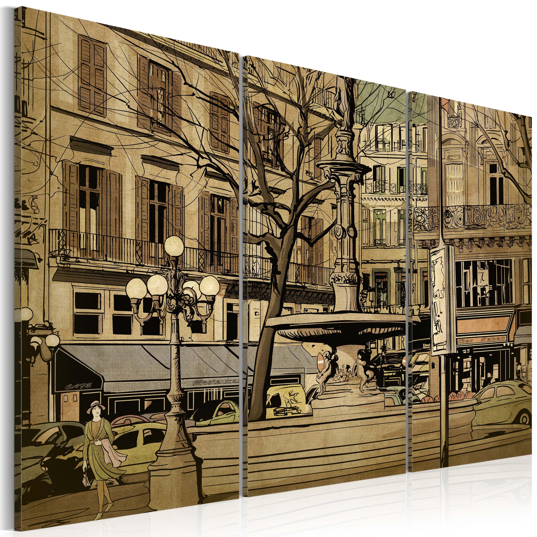 Tableau - Fontaine parisienne en sépia