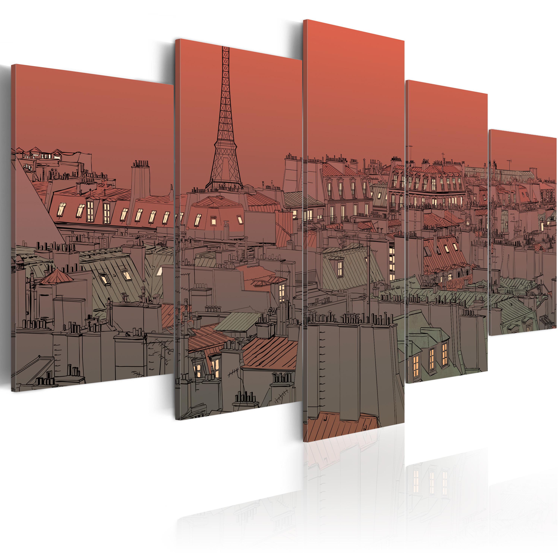 Tableau - Coucher de soleil sur fond de Tour Eiffel