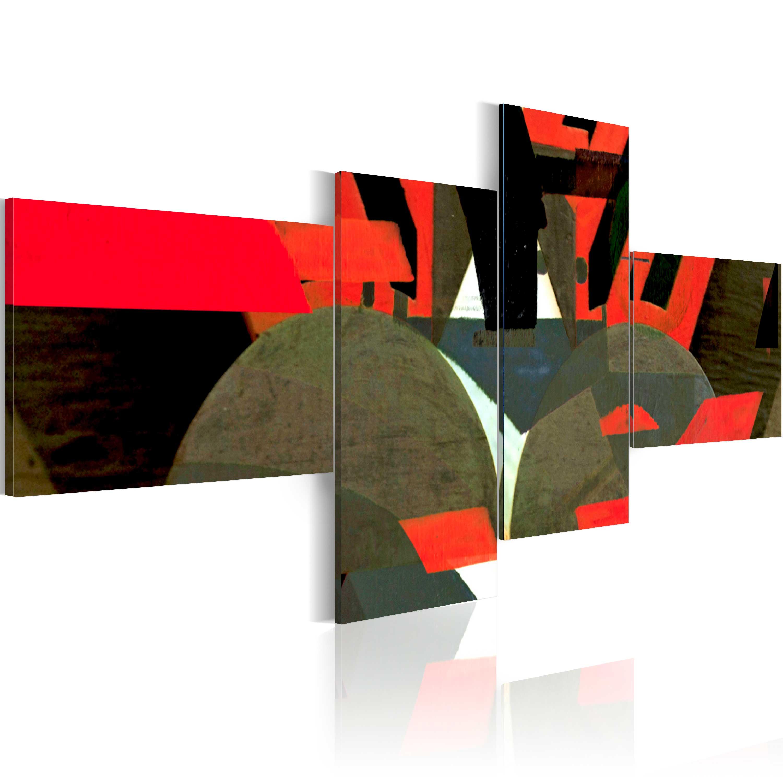 Quadro - Nero, rosso e forme astratte 100X45 cm