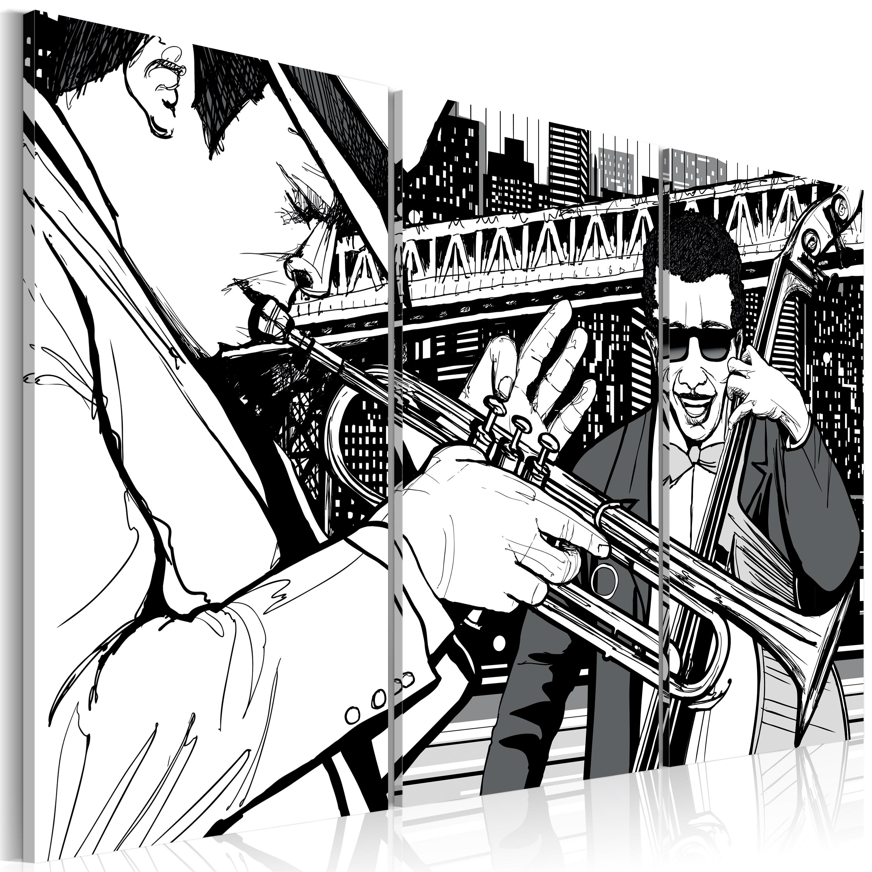 Tableau - Concert de jazz sur fond de gratte-ciels de New York