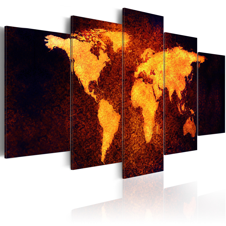 Tableau - Carte du monde - Lave chaude