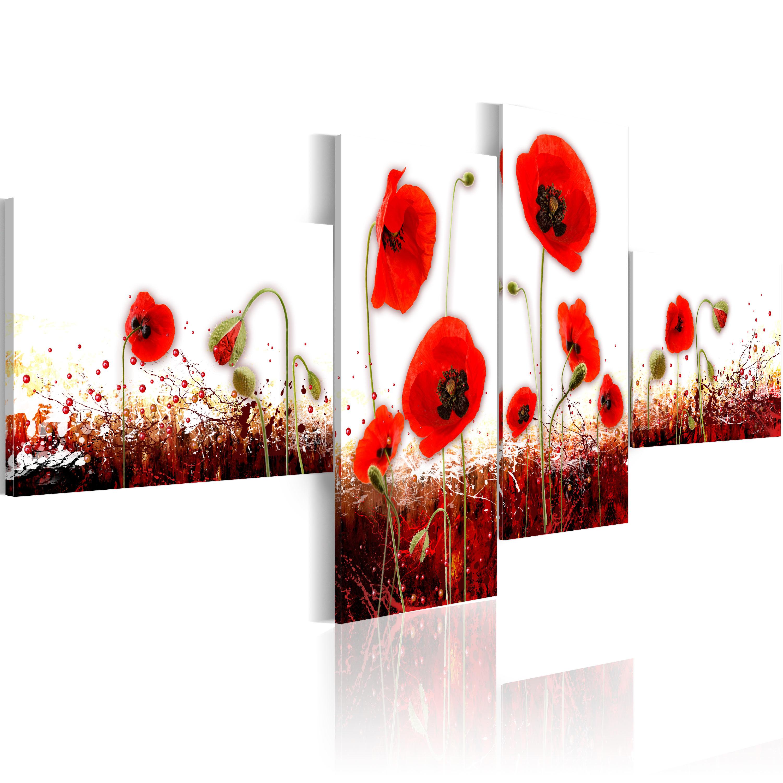 Tableau - Coquelicots rouges sur le fond blanc