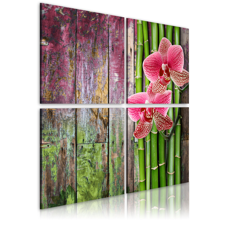 Tableau - Bambou et orchidée