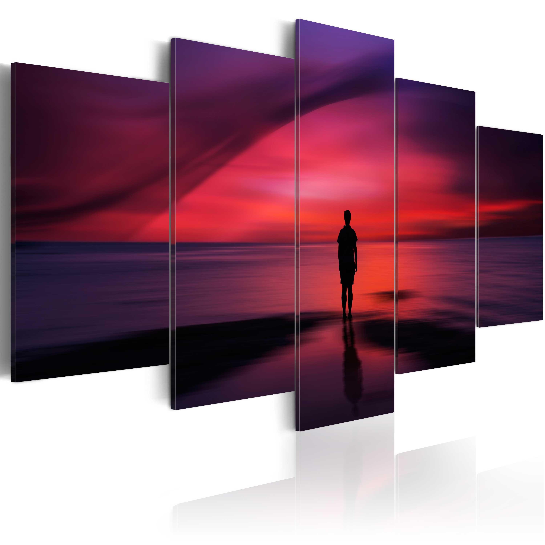 Tableau - Homme admirant le coucher de soleil